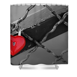Heart Lock Shower Curtain by Lisa Parrish