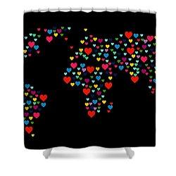 Heart Map  Shower Curtain by Mark Ashkenazi