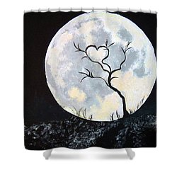 Heart Moon And Tree Shower Curtain