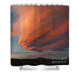 Heart Mountain Cirrus Sunset-signed Shower Curtain
