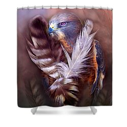 Heart Of A Hawk Shower Curtain by Carol Cavalaris