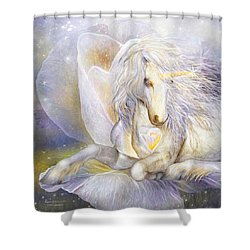 Shower Curtain featuring the mixed media Heart Of A Unicorn by Carol Cavalaris