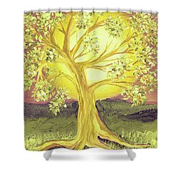 Heart Of Gold Tree By Jrr Shower Curtain by First Star Art