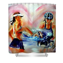 Heart Of The Triathlete Shower Curtain by Sandy Ryan