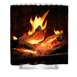 Heart-shaped Ember In Roaring Fire Shower Curtain