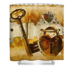 Heart Shaped Lock With Key Shower Curtain by Tracey Harrington-Simpson