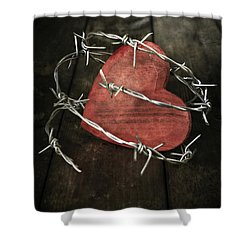 Heart With Barbed Wire Shower Curtain by Joana Kruse