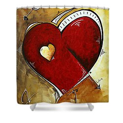 Heartbeat By Madart Shower Curtain by Megan Duncanson