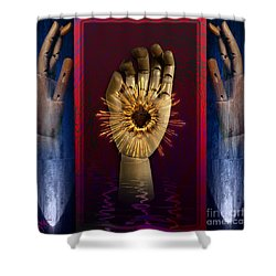 Shower Curtain featuring the digital art Hearted Hand by Rosa Cobos