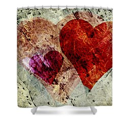 Hearts 10 Square Shower Curtain by Edward Fielding