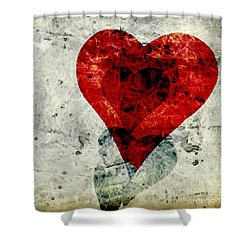 Hearts 3 Square Shower Curtain by Edward Fielding