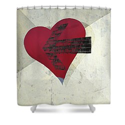 Hearts 7 Square Shower Curtain by Edward Fielding