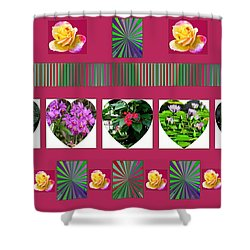 Hearts And Flowers 2 Shower Curtain by Marian Bell