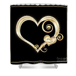 Hearts In Gold And Ivory On Black Shower Curtain