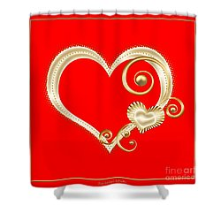 Hearts In Gold And Ivory On Red Shower Curtain