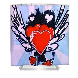 Hearts Shower Curtain by Marisela Mungia