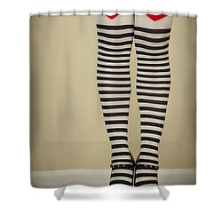Hearts N Stripes Shower Curtain by Evelina Kremsdorf