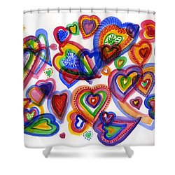 Hearts Of Colour Shower Curtain