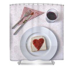 Hearty Toast Shower Curtain by Joana Kruse