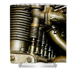 Shower Curtain featuring the photograph Heath-henderson Motorcycle Engine by Wilma  Birdwell