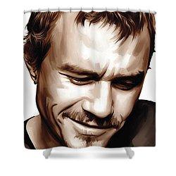 Heath Ledger Artwork Shower Curtain by Sheraz A