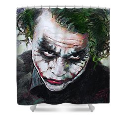 Shower Curtain featuring the drawing Heath Ledger The Dark Knight by Viola El