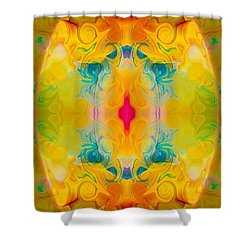 Shower Curtain featuring the digital art Heavenly Bliss Abstract Healing Artwork By Omaste Witkowski  by Omaste Witkowski