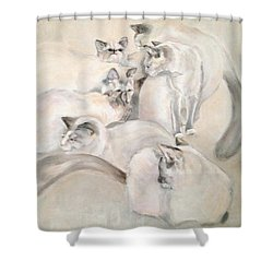 Heavenly Puffs Shower Curtain by Janet Felts
