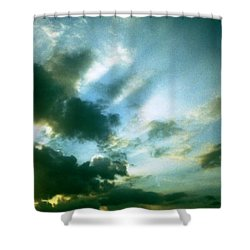 Golden Heavenly Rays Shower Curtain