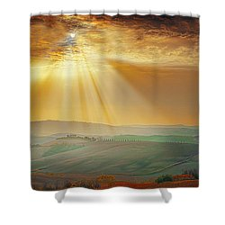 Heavenly Rays Shower Curtain by Midori Chan