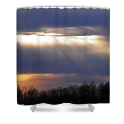 Heavenly Sunset Shower Curtain by Nick Kirby