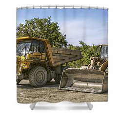 Heavy Equipment - Komatsu - Cat Shower Curtain by Jason Politte