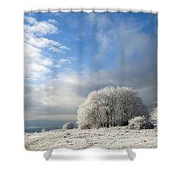 Heavy Frost Shower Curtain by Anne Gilbert