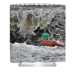 Heavy Surf - Lifeguard Competition Shower Curtain by Kim Bemis