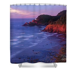 Shower Curtain featuring the photograph Heceta Head Lighthouse At Sunset Oregon Coast by Dave Welling