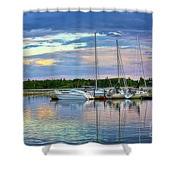Shower Curtain featuring the photograph Hecla Island Boats II by Teresa Zieba