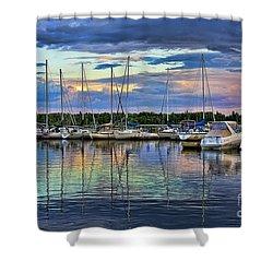 Hecla Island Boats Shower Curtain