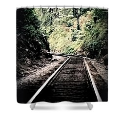 Hegia Burrow Railroad Tracks  Shower Curtain by Lesa Fine