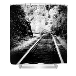 Shower Curtain featuring the photograph Heiga Burrow Railroad Tracks by Lesa Fine
