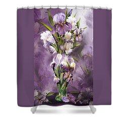 Heirloom Iris In Iris Vase Shower Curtain by Carol Cavalaris