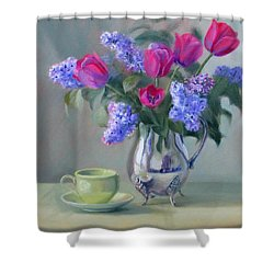 Heirlooms- Lilacs And Tulips In A Silver Pitcher Shower Curtain
