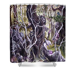 Shower Curtain featuring the painting Heist Of The Wizard's Staff 2 by Curtiss Shaffer