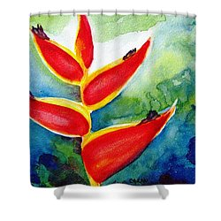 Heliconia - Abstract Painting Shower Curtain by Carlin Blahnik