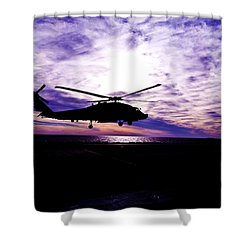 Helicopter Silhouette At Sunset Shower Curtain by Mountain Dreams