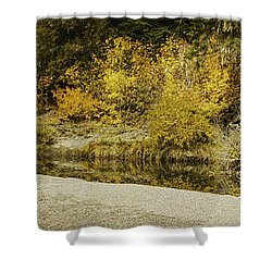 Hello Autumn Panorama Shower Curtain by Diane Schuster