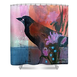 Hello Crow Shower Curtain