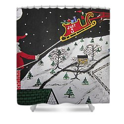 Help Santa's Stuck Shower Curtain by Jeffrey Koss