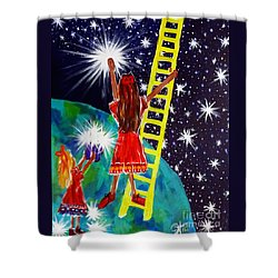 Helping Hands Shower Curtain by Jackie Carpenter