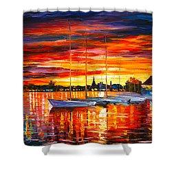 Helsinki Sailboats At Yacht Club Shower Curtain by Leonid Afremov