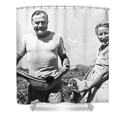 Hemingway, Wife And Pets Shower Curtain by Underwood Archives